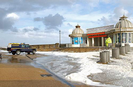 Coastguards on flood watch at Cromer Norfolk