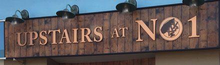 Upstairs at No 1 restaurant sign Cromer
