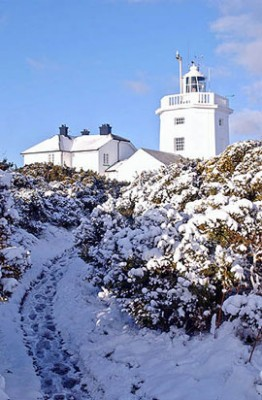 Cromer Lighthouse North Norfolk with snow