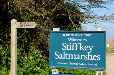 National Trust sign at Stiffkey Marshes