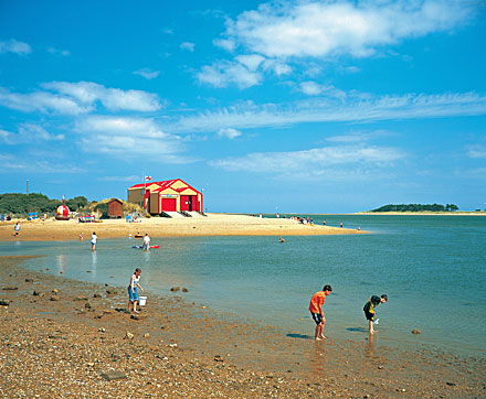 The beach and lifeboat house at Wells Norfolk
